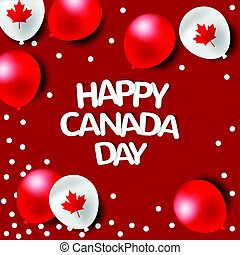 canada, fête, national, ballons, jour