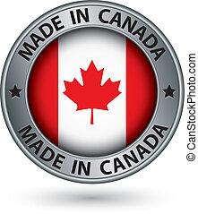 canada, fait, drapeau, illustration, étiquette, vecteur, argent