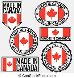 canada, fait, drapeau, vecteur, étiquette, ensemble, illustration