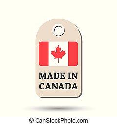 canada, fait, flag., pendre, illustration, arrière-plan., vecteur, blanc, étiquette