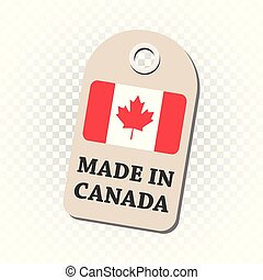 canada, fait, flag., pendre, isolé, illustration, arrière-plan., vecteur, étiquette