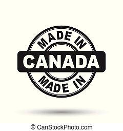 canada, fait, illustration, stamp., vecteur, arrière-plan noir, blanc