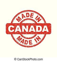 canada, fait, illustration, stamp., vecteur, fond, blanc rouge