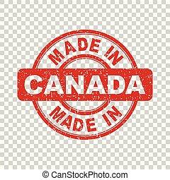 canada, fait, isolé, illustration, stamp., vecteur, fond, rouges