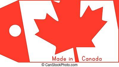 canada, fait, mot, coût, isolé, illustration, arrière-plan., drapeau, étiquette, vecteur, blanc