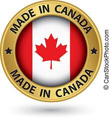 canada, fait, or, illustration, vecteur, étiquette