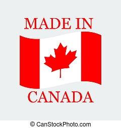 canada, fait, texte, illustration, drapeau, vecteur, canada.