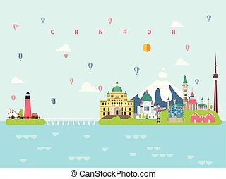 Canada Famous Landmarks Infographic Templates for Traveling Minimal Style and Icon, Symbol Set Vector Illustration Can be use for Poster Travel book, Postcard, Billboard.