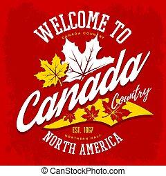 canada, feuille, pays, signe bienvenu, érable
