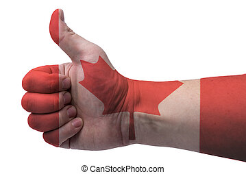 Canada flag and hand with thumb up.