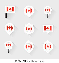 canada flag and pins for infographic, and map design