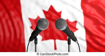 Canada flag background with two microphones in front of it. Close up view. 3d illustration