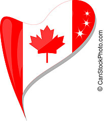 canada flag button heart shape. vector