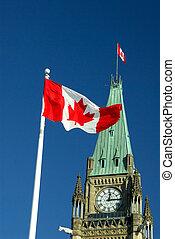 Canada Flag - Canadian Maple Leaf Flag Flying On Parliament ...