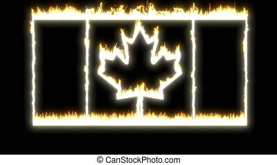 Canada flag fire able to loop seamless