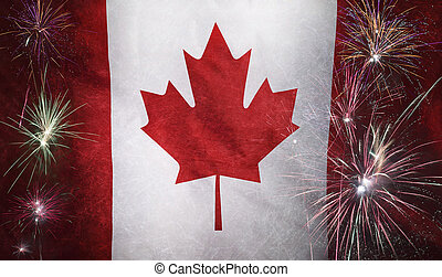 Canada Flag Firework Grunge Concept real fabric - Textile...