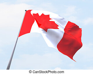 Canada flag flying on clear sky.