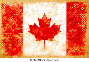Canada flag grunge  on old vintage paper