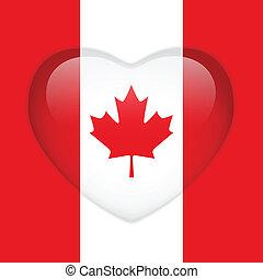 Canada Flag Heart Glossy Button