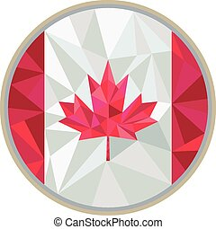 Low polygon style illustration of canada flag maple leaf set inside circle on isolated background.