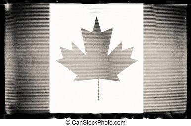 Canada flag in grunge BW film style