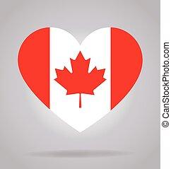 canada flag in heart shape vector