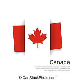 Canada flag in paper cut style. Creative background in canada flag colors for holiday card design. National Poster. State canadian patriotic cover, business booklet, flyer. Vector design
