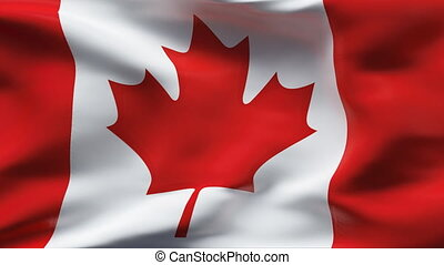 CANADA flag in slow motion - Creased cotton flag with...