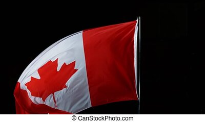 Canada Flag in Super Slow Motion blowing in the wind. Filmed at 1000 fps.