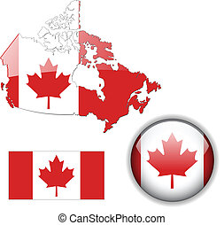 Canada flag, map and glossy button, vector illustration set.