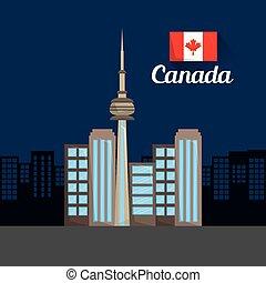 canada flag map monument
