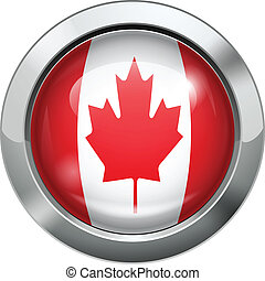 Canada flag metal button
