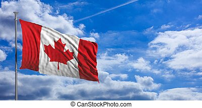 Canada flag on a blue sky background. 3d illustration