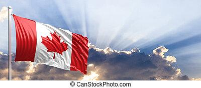 Canada flag on blue sky. 3d illustration