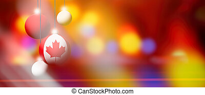 Canada flag on Christmas ball with blurred and abstract background.