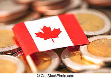 Canada Flag on coins background : Business and finance concept.