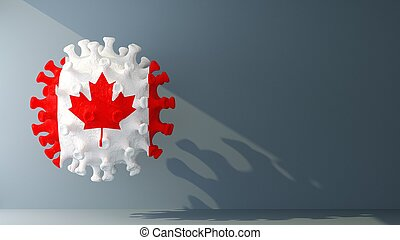 Canada flag on covid-19 virus with copy space