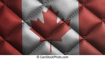 Canada flag on leather texture