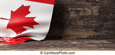 Canada flag on wooden background. 3d illustration