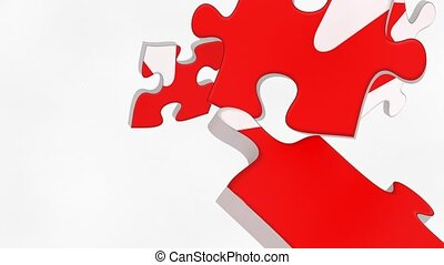 Canada flag puzzle pieces falling down and assembling the...