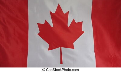 Canada Flag real fabric Close up 4K - Textile flag of Canada...