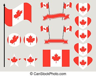 Canada flag set. Collection of symbols, flag in heart. Button and star. Vector illustration