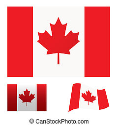 Illustrated collection of flag icon set for canada