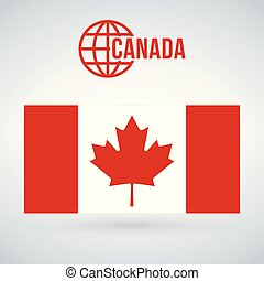 Canada flag vector illustration isolated on modern background with shadow.