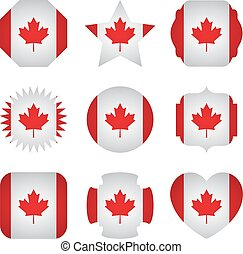 Canada flag with different shapes on a white background