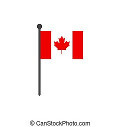 canada flag with pole icon vector isolated on white background