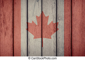Canada Flag Wooden Fence