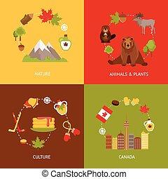 Canada flat icons set