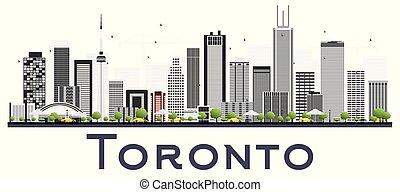 canada, fondo., toronto, isolato, bianco, colorare, costruzioni, orizzonte, città