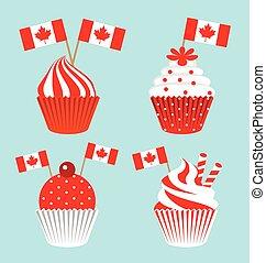 canada, gâteau, national, jour, tasse